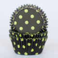 Black and Lime Green Polka Dot Cupcake Liners