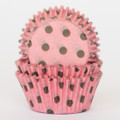 Pink and Brown Polka Dot Cupcake Liners
