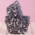 Black and White Damask Cupcake Liners