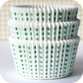 White and Green Sweet Spot Cupcake Liners