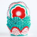 Turquoise and Red Scalloped Cupcake Liners