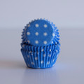 Mini Vintage Blue Polka Dot Cupcake Liners