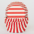 Cherry Red Striped Cupcake Liners