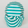 Teal Green Striped Cupcake Liners