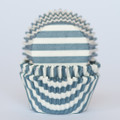 Denim Blue Striped Cupcake Liners