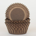 Chocolate Brown and Gold Carnival Stripe Cupcake Liners