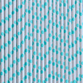 Turquoise Polka Dot Paper Straws
