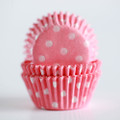 Mini Cotton Candy Pink Polka Dot Cupcake Liners