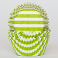 Lime Green Striped Cupcake Liners