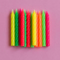 Assorted Large Spiral Candles: Neon