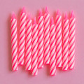 Bubblegum Pink and White Large Spiral Candles