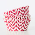 Cherry Red Chevron Cupcake Liners