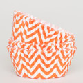 Tangerine Orange Chevron Cupcake Liners