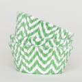 Green Chevron Cupcake Liners