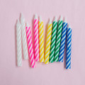 Assorted Large Spiral Candles: Blue, White, Pink, Yellow, Green