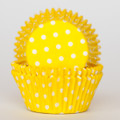 Lemon Yellow Polka Dot Cupcake Liners