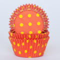 Tangerine Orange and Lemon Yellow Polka Dot Cupcake Liners