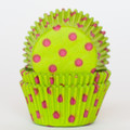 Lime Green + Hot Pink Polka Dot Cupcake Liners