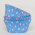 Vintage Blue + Cotton Candy Pink Polka Dot Cupcake Liners
