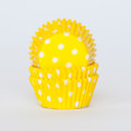 Mini Lemon Yellow Polka Dot Cupcake Liners