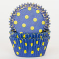 Royal Blue + Lemon Yellow Polka Dot Cupcake Liners