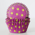 Taffy Purple + Lime Green Polka Dot Cupcake Liners