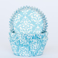 Turquoise Damask Cupcake Liners