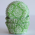 Lime Green Damask Cupcake Liners