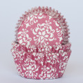Cherry Red Damask Cupcake Liners