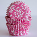 Raspberry Pink Damask Cupcake Liners