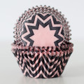 Cotton Candy Pink and Black Chevron Cupcake Liners