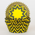 Lemon Yellow and Black Chevron Cupcake Liners