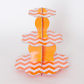 Tangerine Orange Chevron Cupcake Stand
