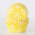 Lemon Yellow Damask Cupcake Liners