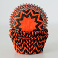 Tangerine Orange and Black Chevron Cupcake Liners