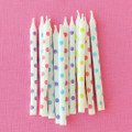 Assorted Polka Dot Candles: White with Colored Dots