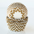 Gold and White Chevron Cupcake Liners