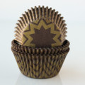 Chocolate Brown and Gold Chevron Cupcake Liners