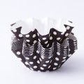 Dark Brown Polka Dot Floret Baking Cups