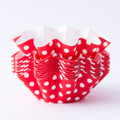 Red Polka Dot Floret Baking Cups