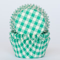 Teal Green Gingham Cupcake Liners