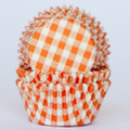Tangerine Orange Gingham Cupcake Liners