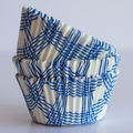 Royal Blue Summer Plaid Cupcake Liners