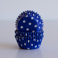 Mini Royal Blue Polka Dot Cupcake Liners