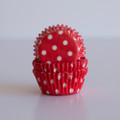 Mini Strawberry Red Polka Dot Cupcake Liners