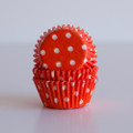 Mini Tangerine Orange Polka Dot Cupcake Liners