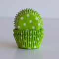 Mini Lime Green Polka Dot Cupcake Liners