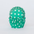 Mini Teal Green Polka Dot Cupcake Liners