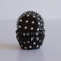Mini Black Licorice Polka Dot Cupcake Liners