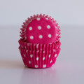 Mini Raspberry Pink Polka Dot Cupcake Liners